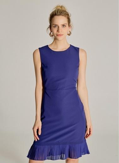 NGSTYLE Essentials - Pilise Detaylı Mini Elbise Lacivert